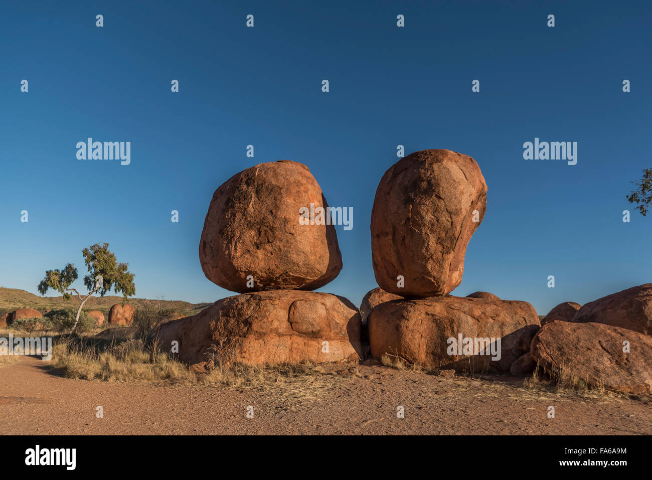 Devil Marbles in the Australian Outback - Stock Image