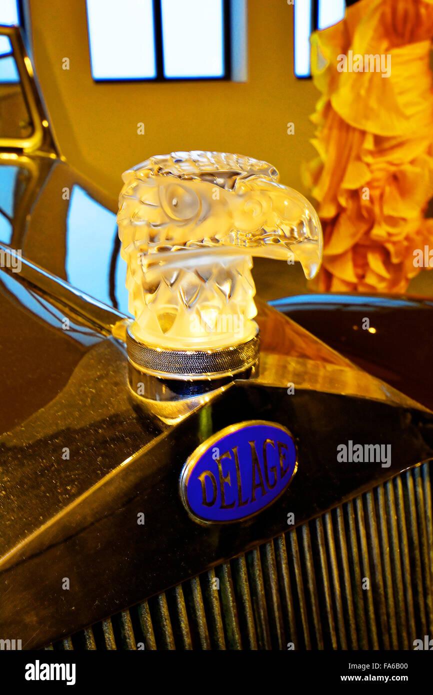 Malaga Spain Automovilistico De Malaga Delage Lalique cap mascot - Stock Image