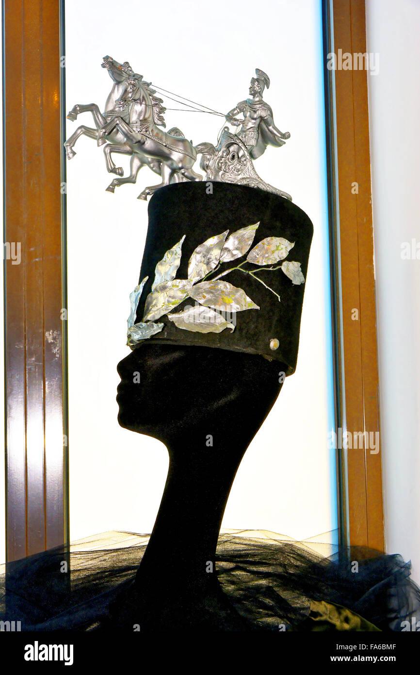 Malaga Spain Automovilistico De Malaga hat sculpture - Stock Image