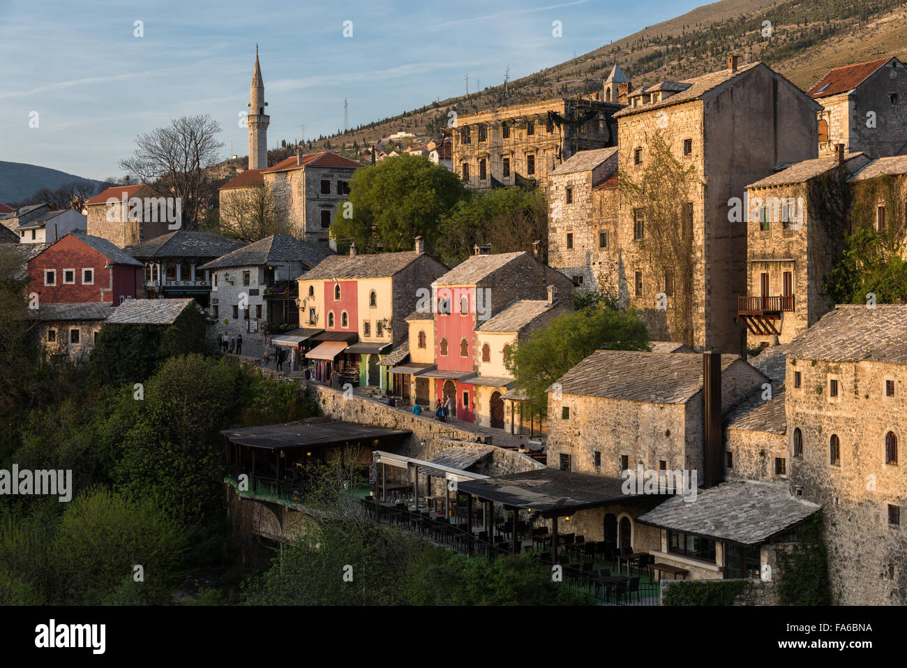 Colorful houses at sunset in Mostar, Bosnia and Herzegovina - Stock Image