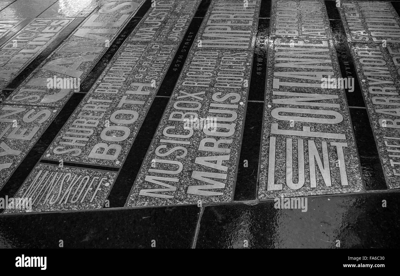The pavement of Father Duffy Square, Times Square on a wet day inset with a typographic map of theatres in the district, - Stock Image