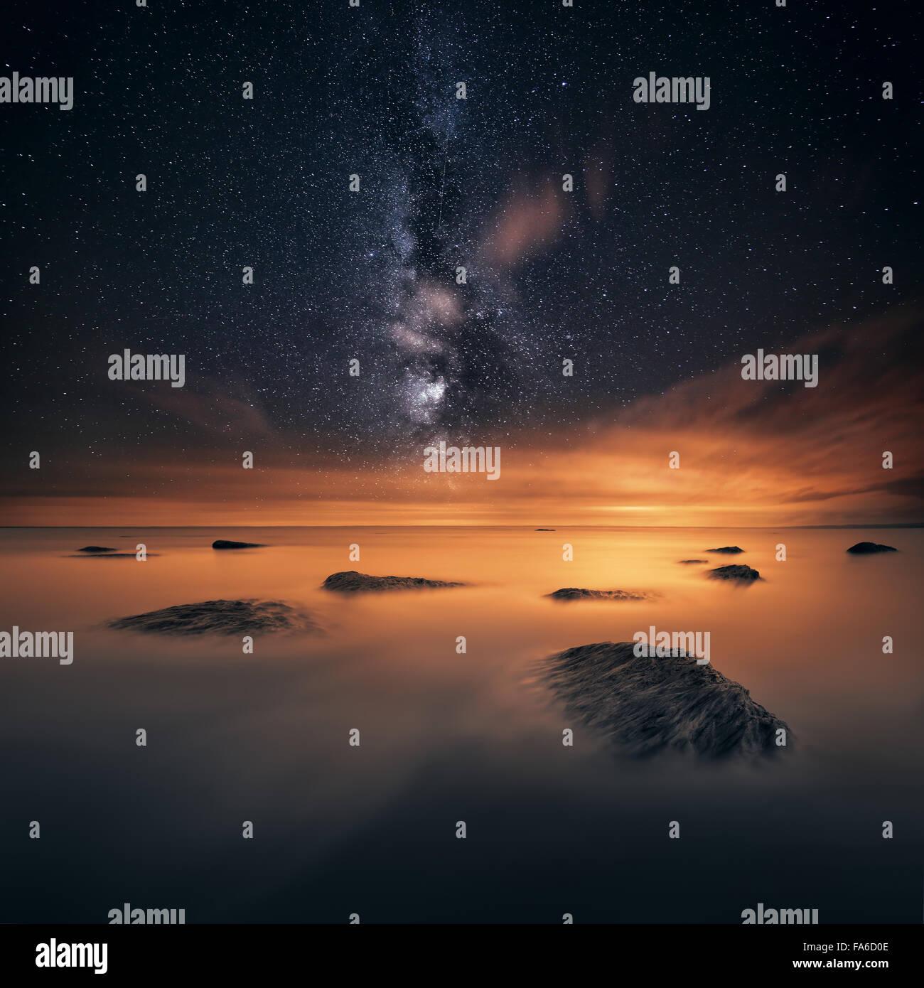 Stars at night, Lough Neagh, Northern Ireland, UK - Stock Image