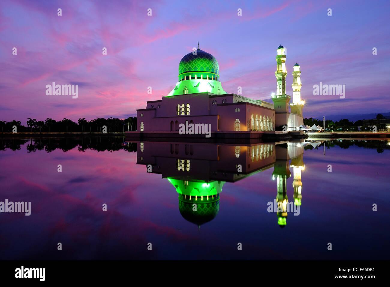 Reflection of Kota Kinabalu City Mosque at Sunrise, Sabah, Borneo, Malaysia Stock Photo