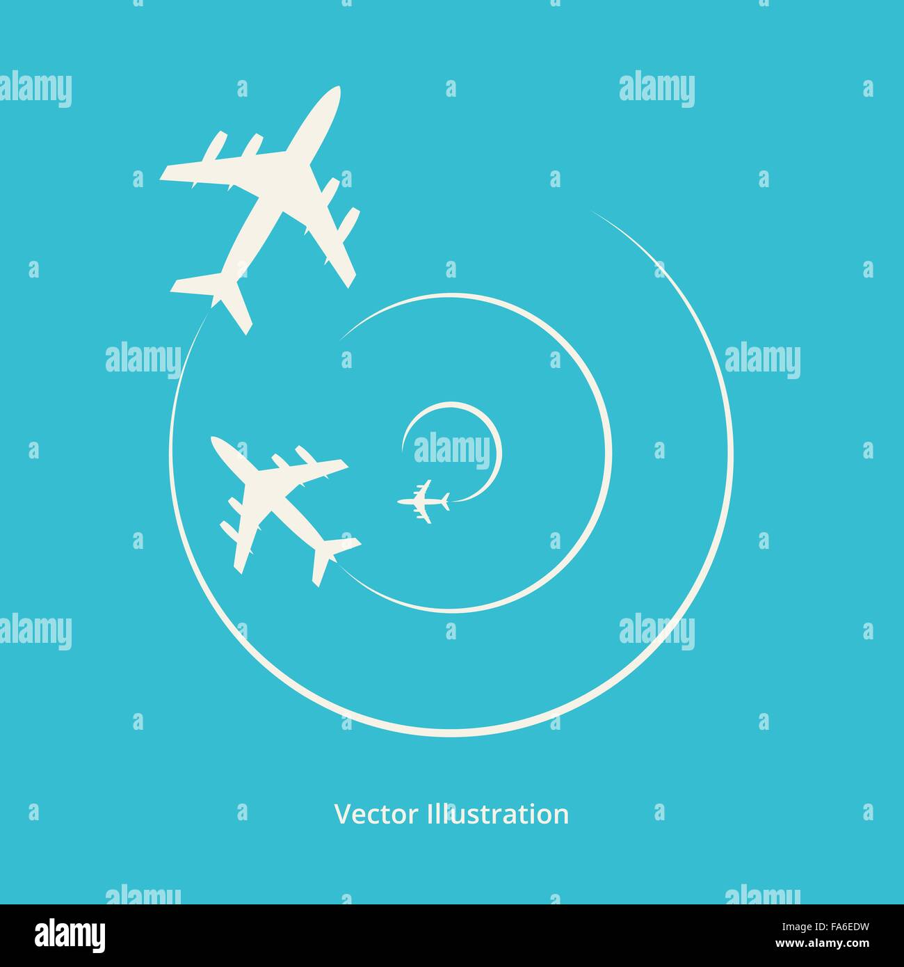 Vector silhouette of aeroplanes for your design - Stock Image