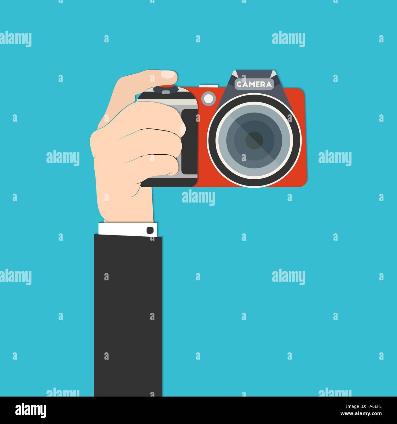 Vector illustration of a hand holding digital SLR camera for your design Stock Vector