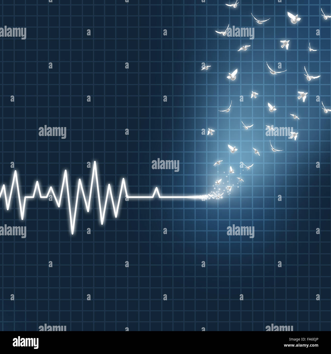 Afterlife concept as an ecg or ekg medical heart monitor lifeline  showing a flatline transforming into white doves - Stock Image