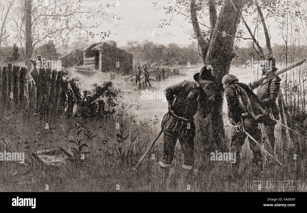 The Lost Colony of Roanoke, Roanoke Island, North Carolina, where 115 people mysteriously disappeared c. 1590.  - Stock Image