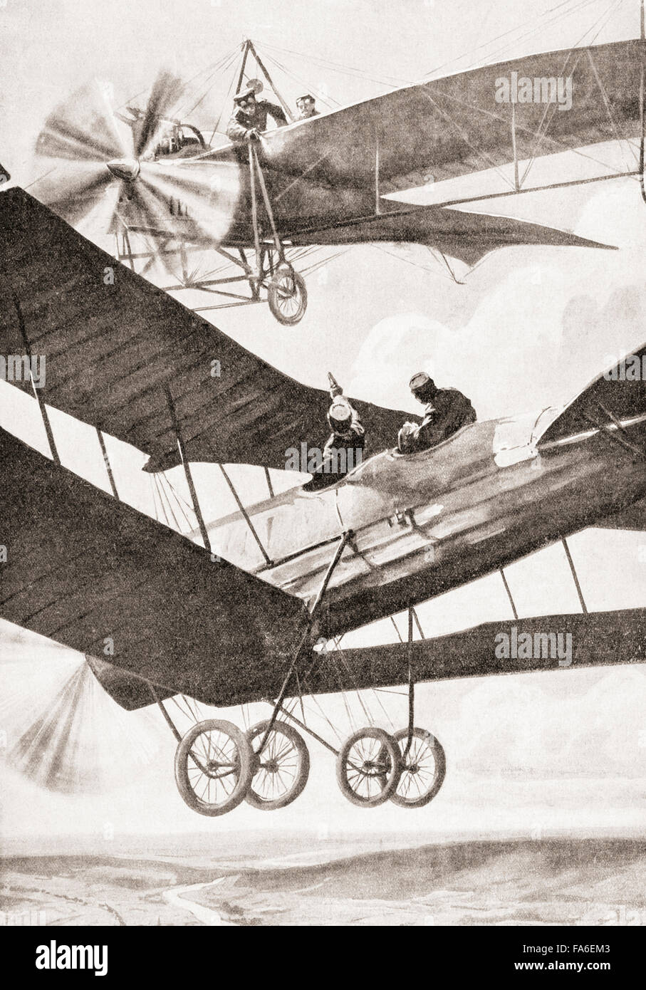 An aerial battle during WWI. - Stock Image
