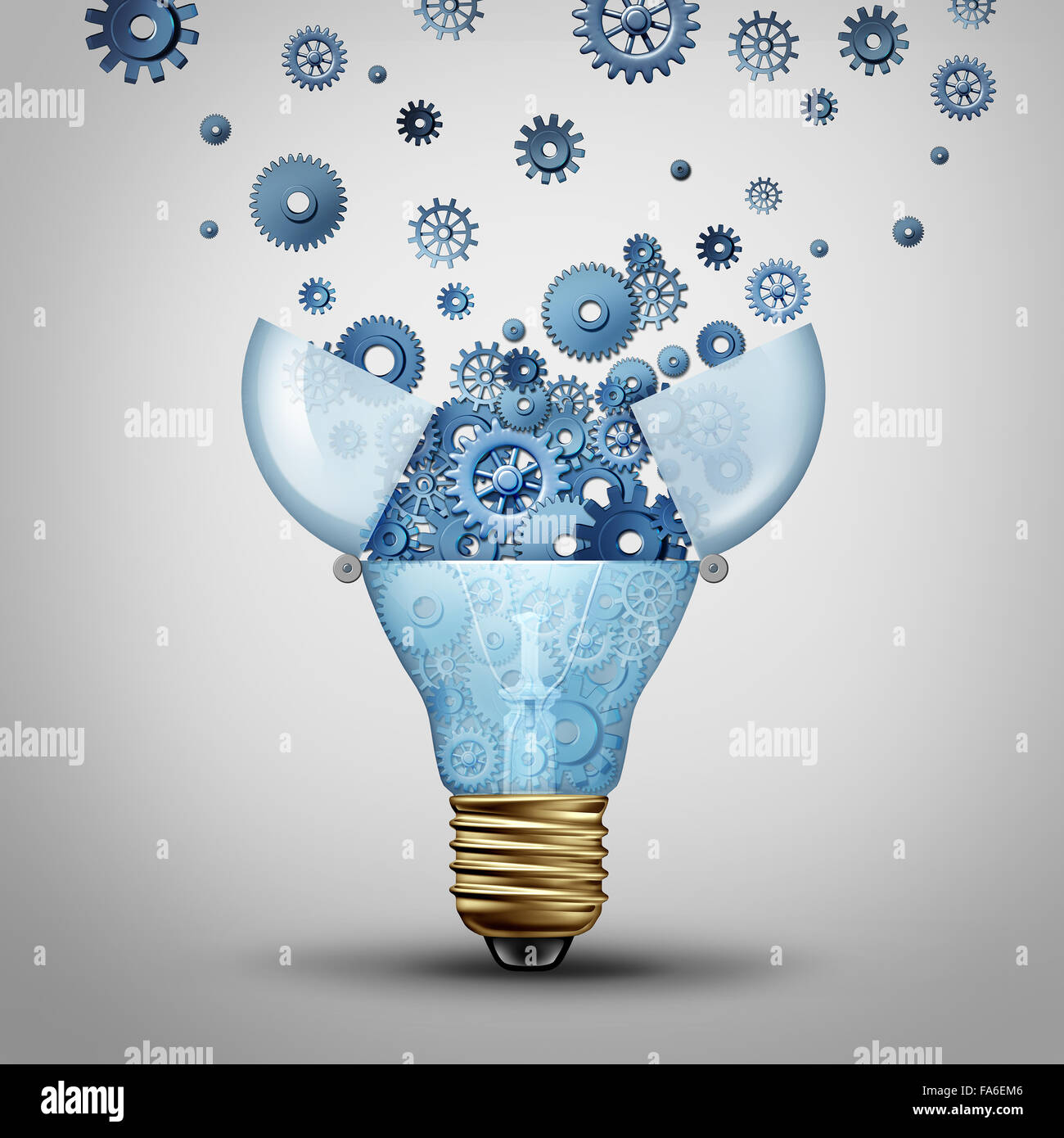 Creative communication solution and clever marketing ideas through distribution as an open lightbulb with a group - Stock Image
