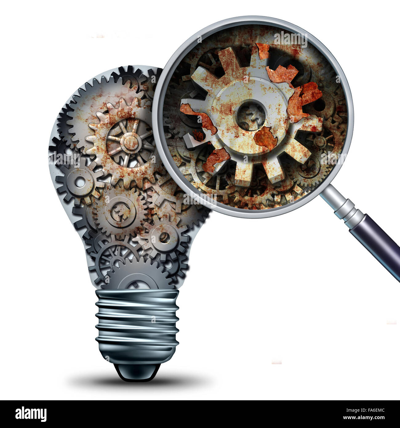 Creative decline and outdated and obsolete ideas concept as a lightbulb made of mechanical gears with a magnigying - Stock Image