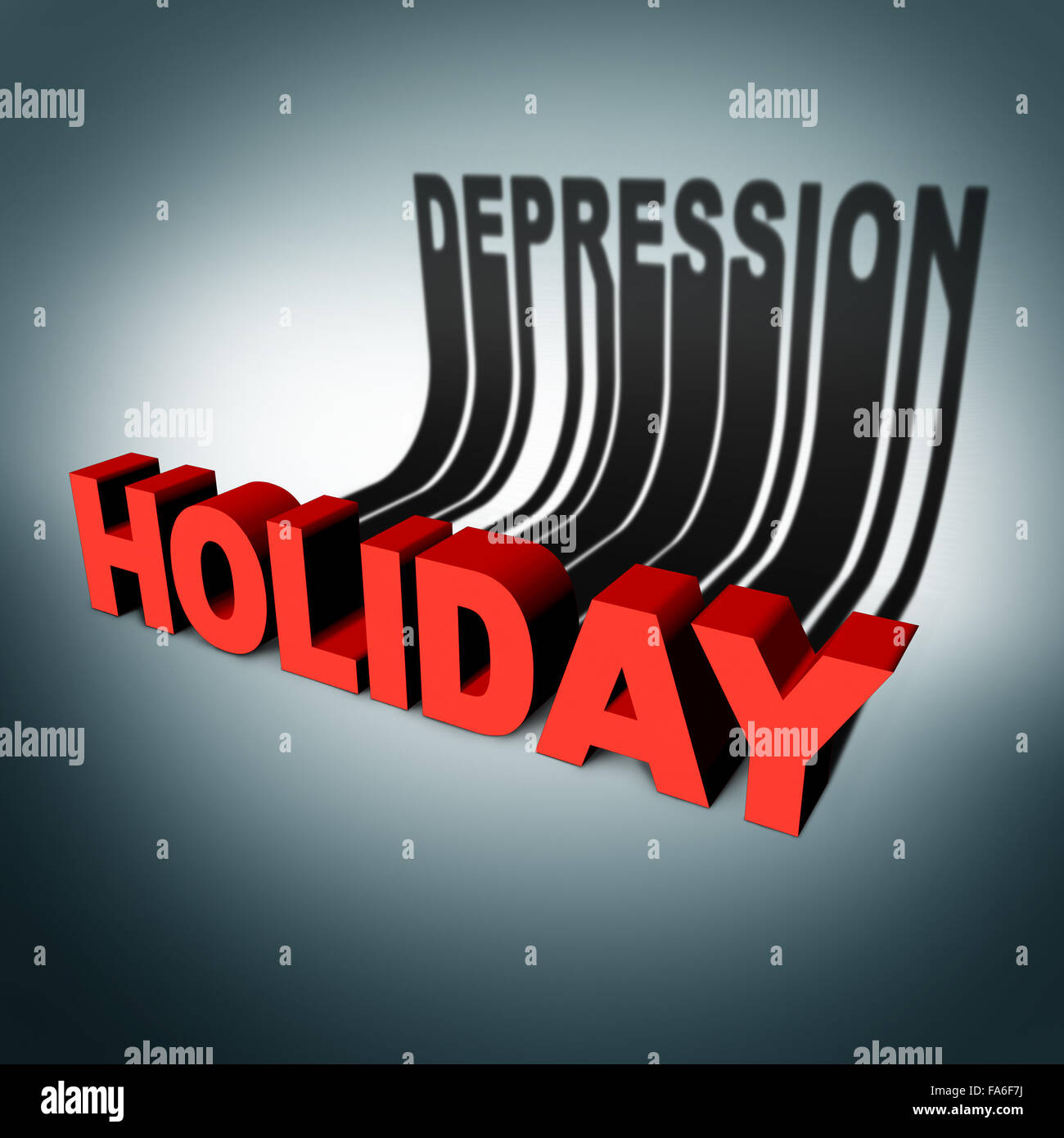 Holiday depression concept and party season anxiety and emotional crisis concept as a three dimensional text with - Stock Image