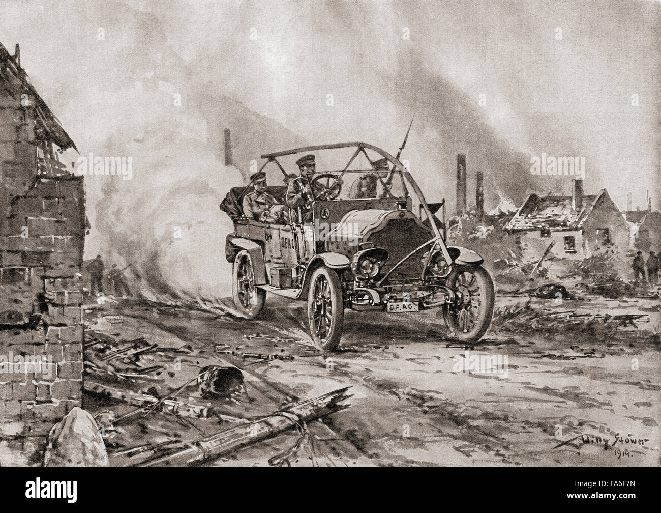 A vehicle from the Austro-Hungarian voluntary automobile corps on reconnaissance in enemy territory during WWI. - Stock Image