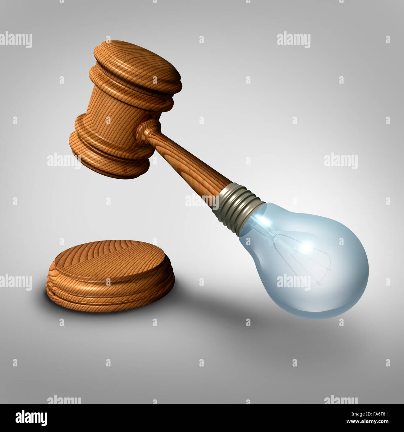Law ideas concept and judgement symbol as a judge mallet or gavel made with a lightbulb  as a metaphor for new legislation - Stock Image