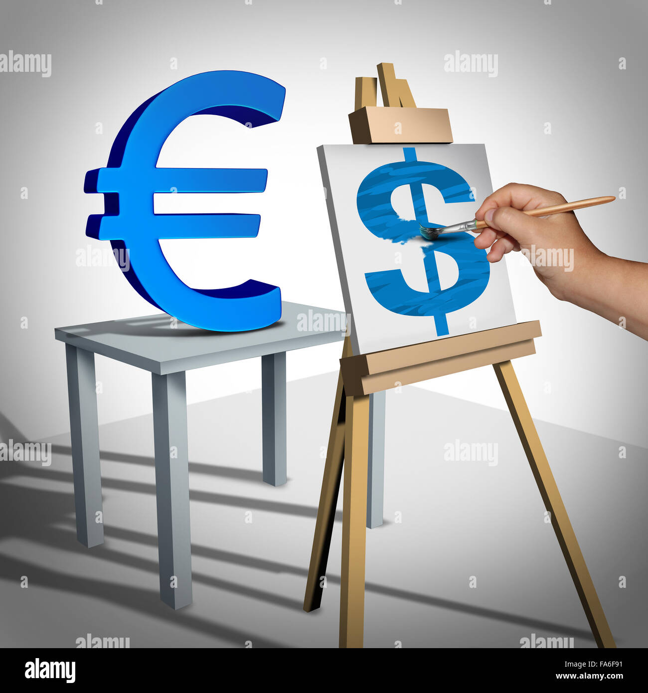 Money exchange and currency conversion financial business concept as a three dimensional euro sign being painted Stock Photo