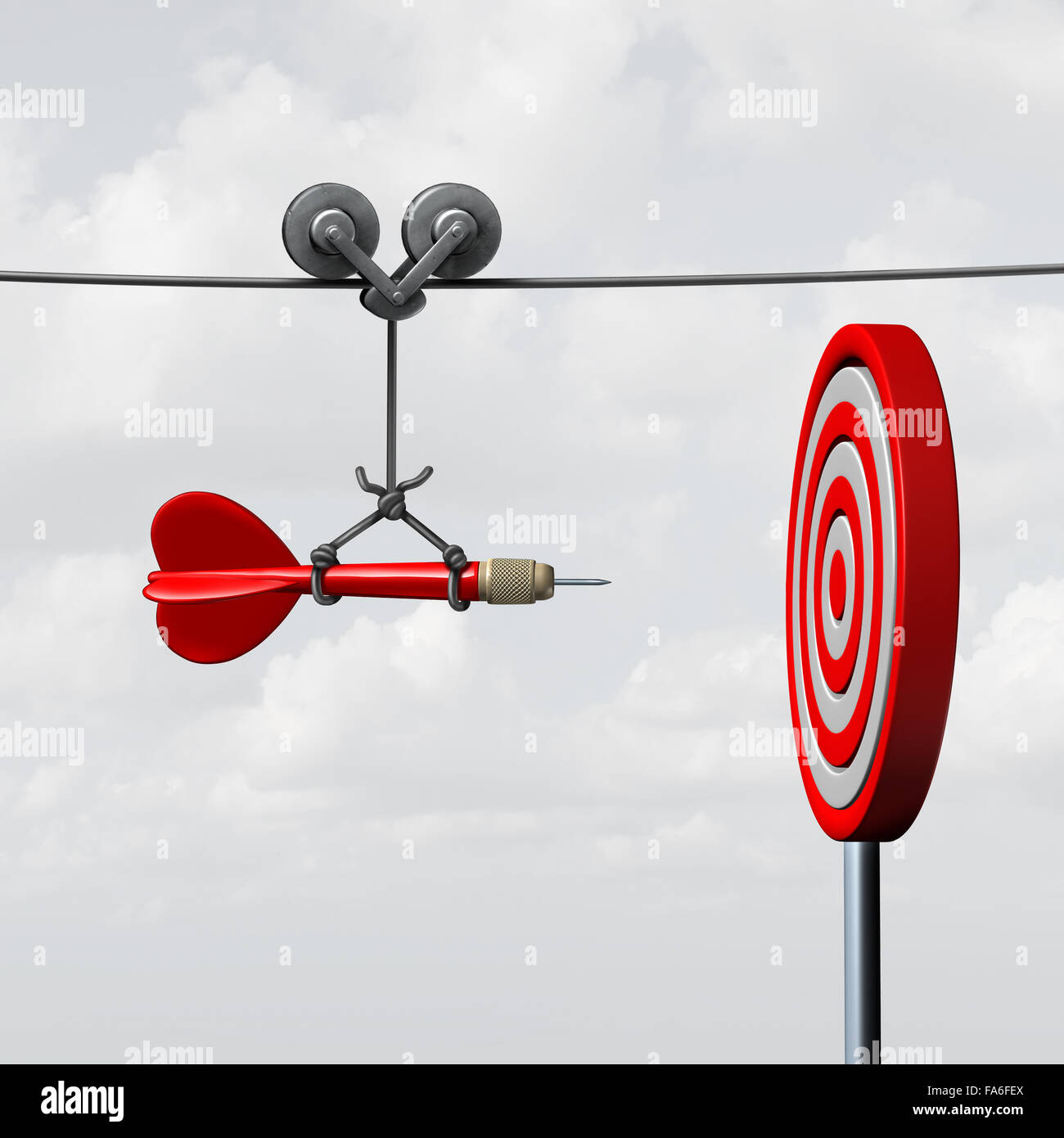 Success hitting target as a business assistance concept with the help of a guide as a symbol for goal achievement - Stock Image