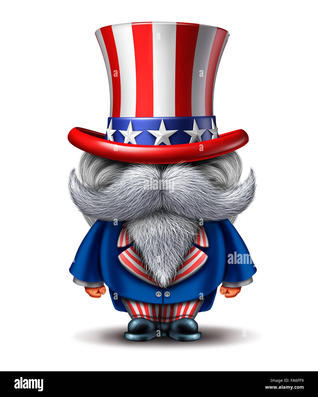 Uncle Sam character as a patriotic icon of an American symbol of political government elections or fourth of july - Stock Image