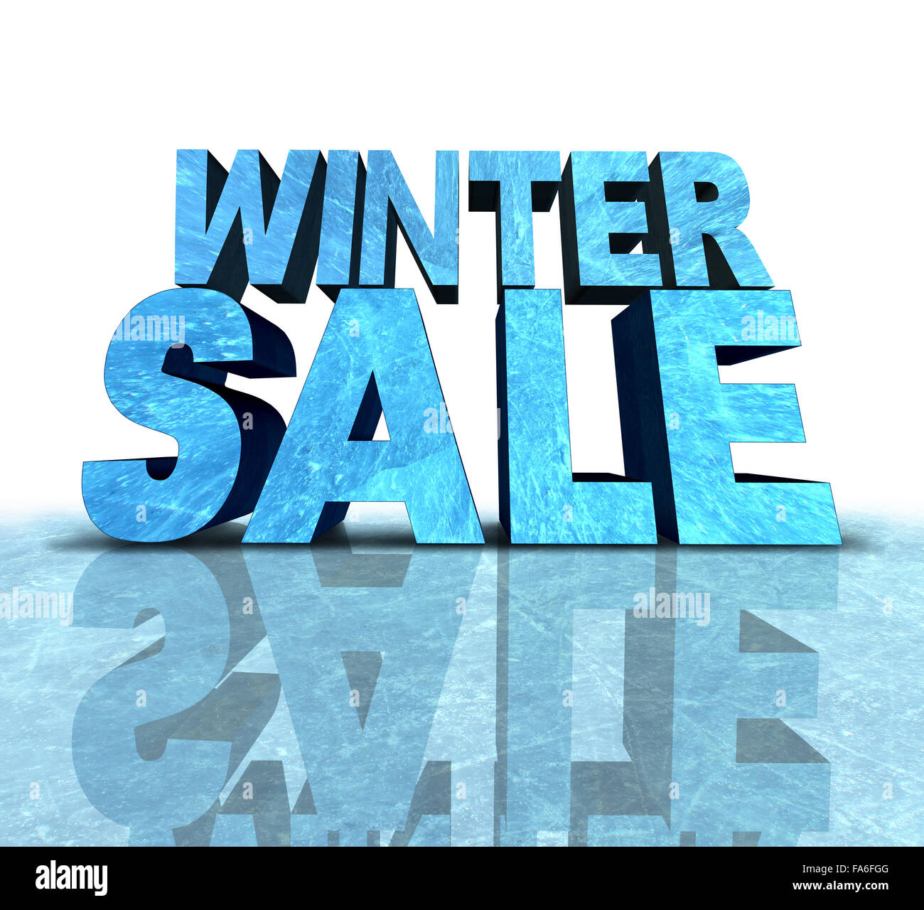 Winter sale sign made with a chunk of frozen ice as a seasonal promotion and new year advertisement for cold weather - Stock Image