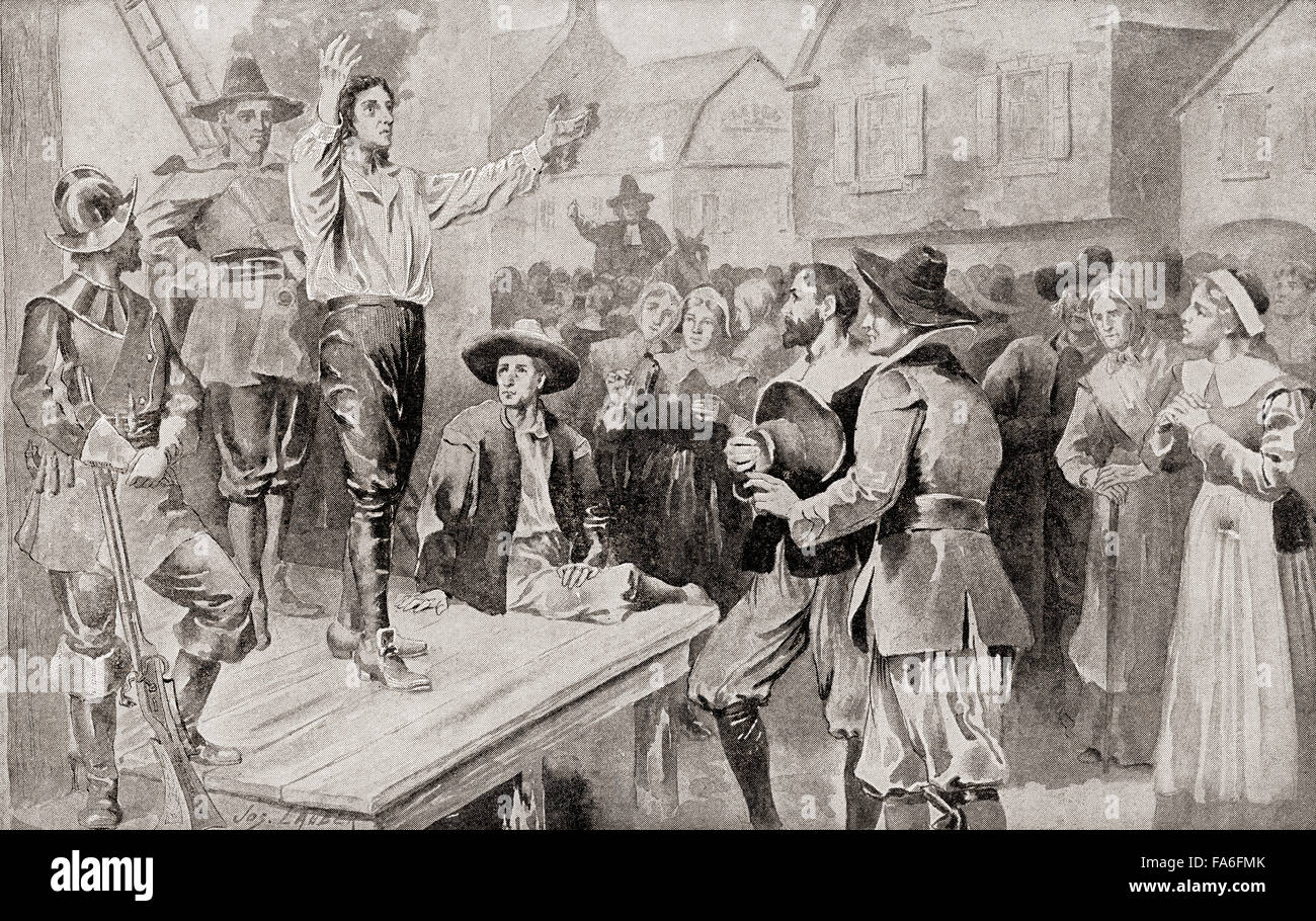 George Burroughs (c.1652 –1690) reciting the Lord's Prayer before his  execution at Witches Hill, Salem, Massachusetts, on 19 August 1690, after  being ...