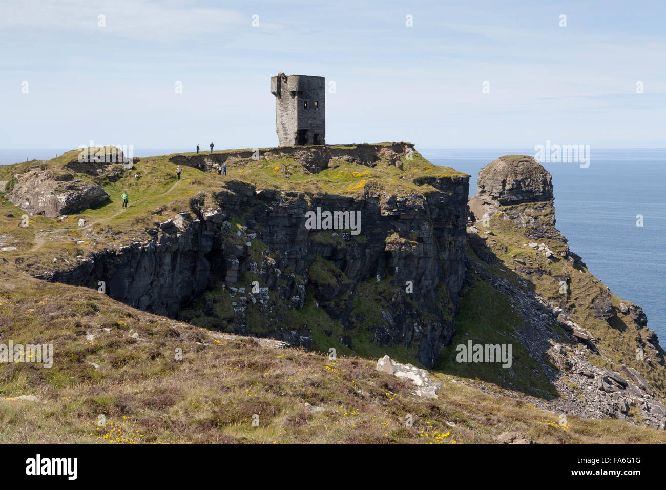 Hag's Head is the southerly point of the Cliffs of Moher - a popular tourist destination on the west coast of - Stock Image