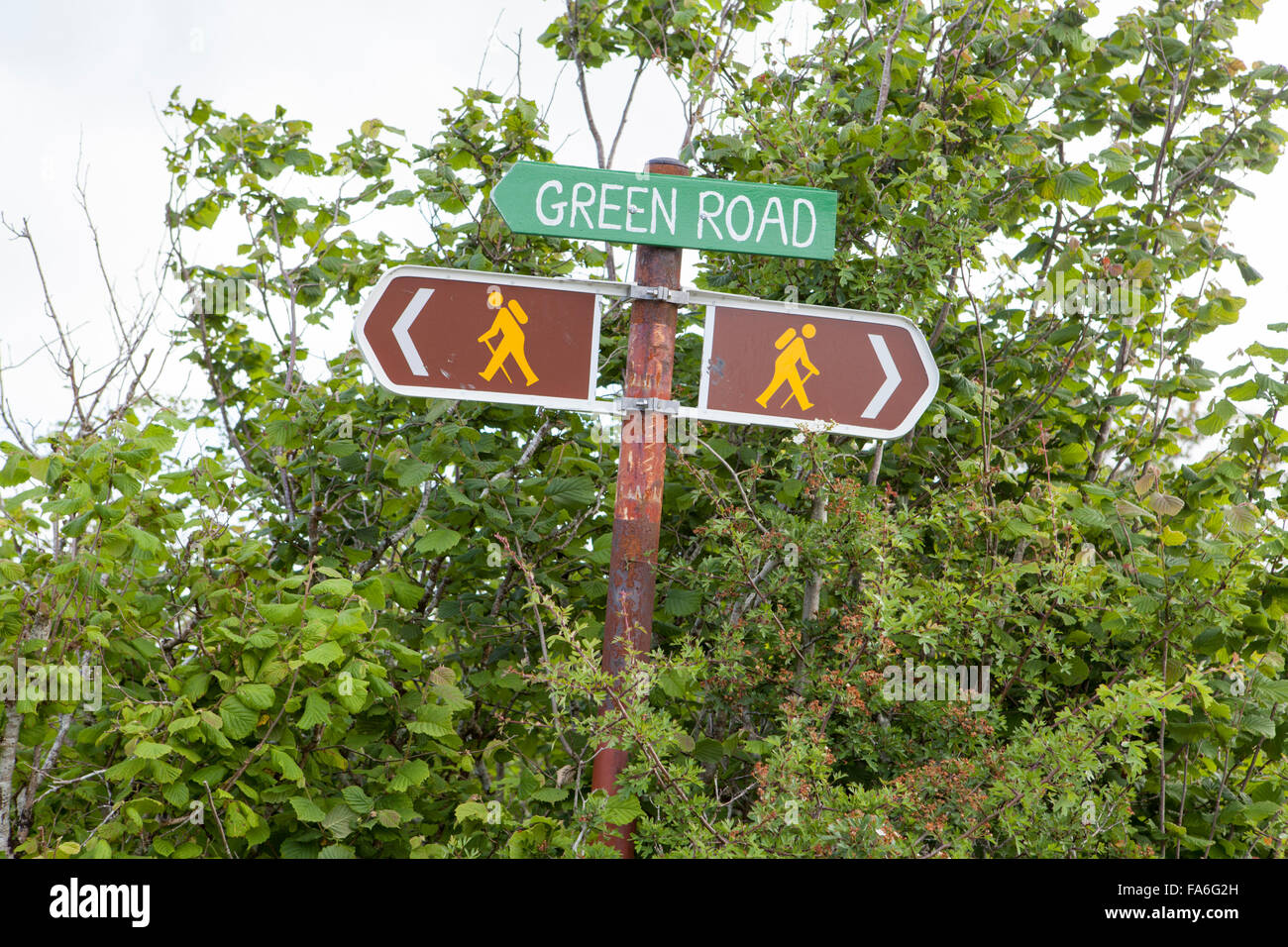 The Green Road at Mullaghmore Crossroads - the Burren, Ireland - Stock Image