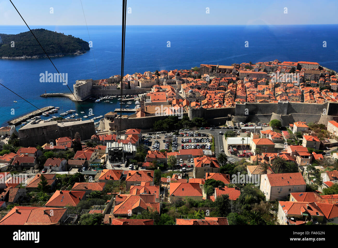 Summer, Ariel view of the City walls and Terracotta Rooftops, Dubrovnik City, UNESCO World Heritage Site, Neretva Stock Photo