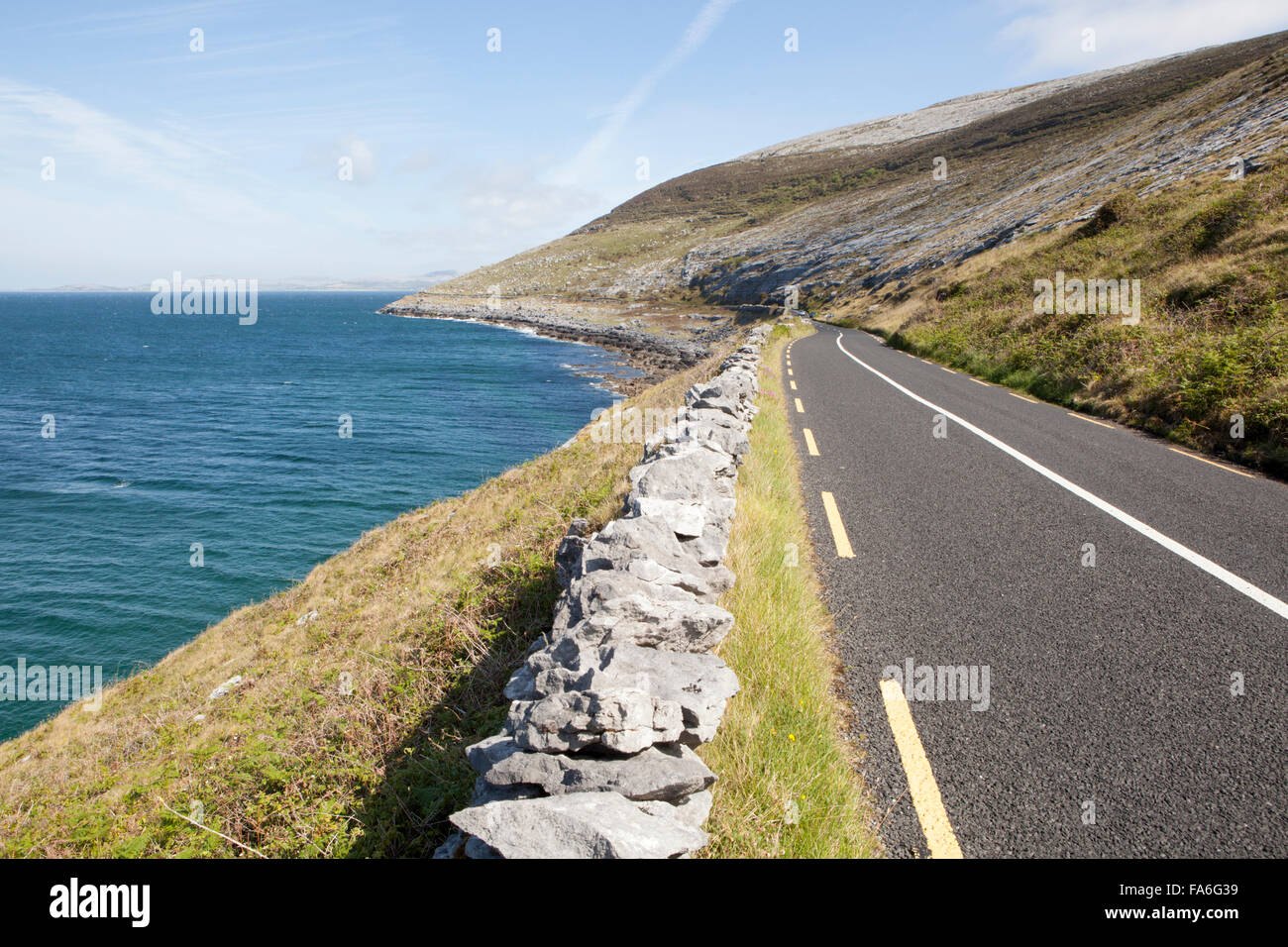Part of the Wild Atlantic Way at Ceann Boirne - Black Head - Stock Image