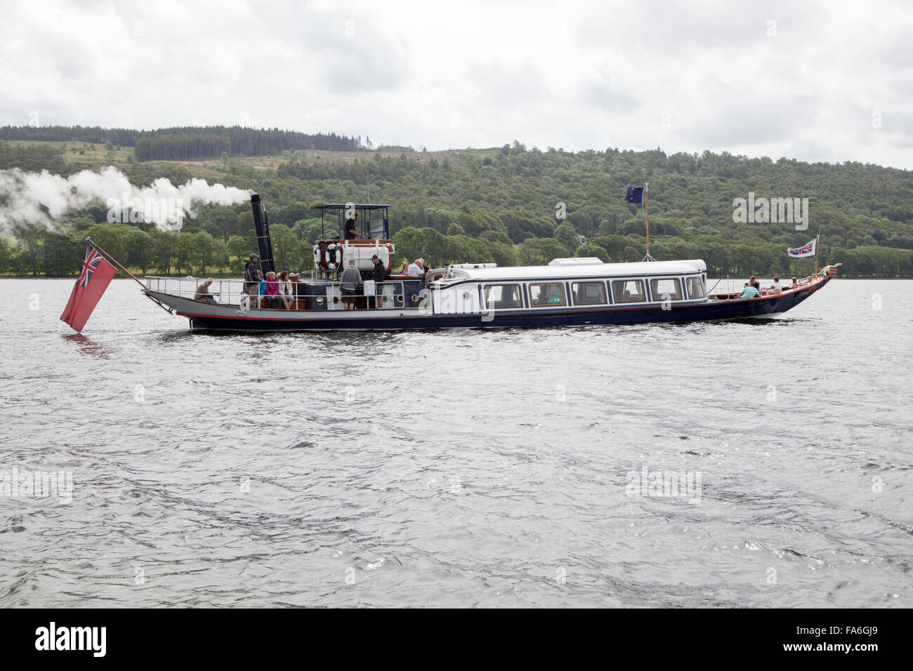 The steam yacht Gondola on Coniston Water in the Lake District - Stock Image