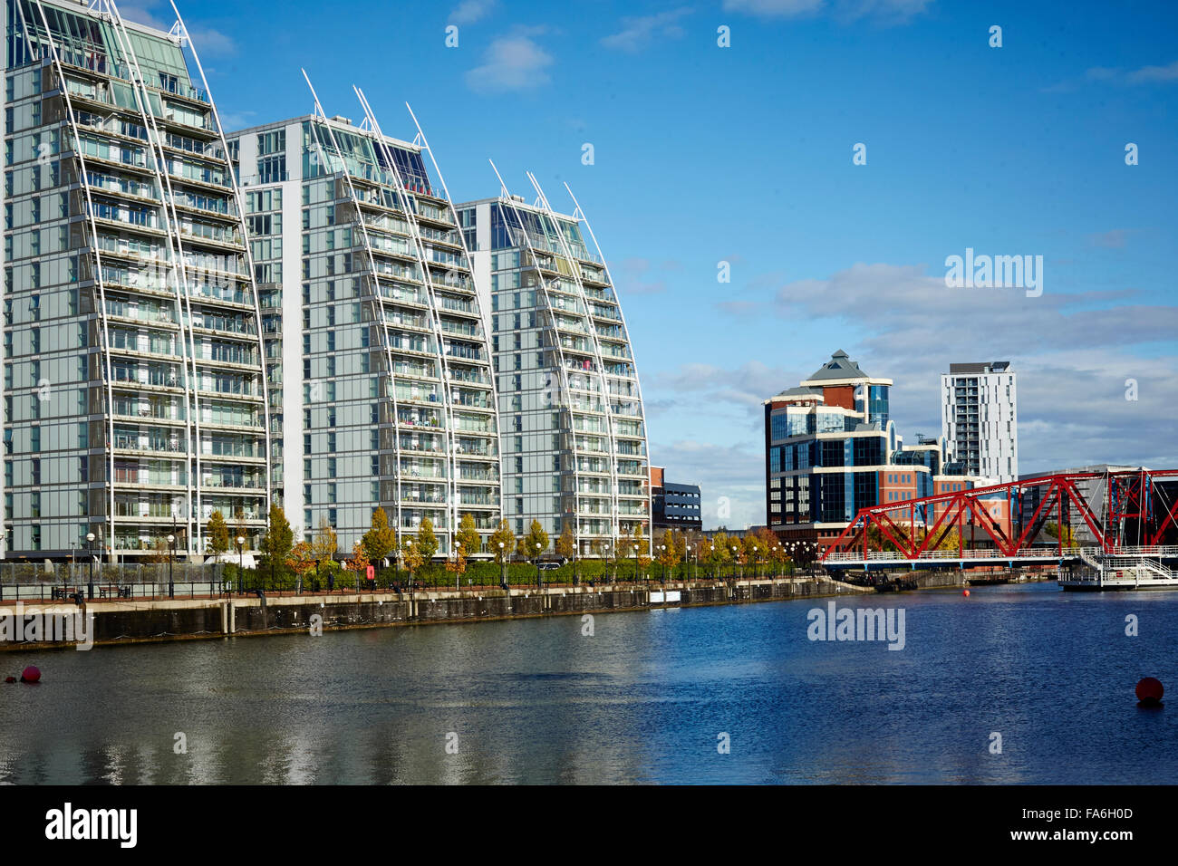Salford Quays Mediacity home to the BBC and ITV studios in the North West   Detroit bridge NV buildings - Stock Image