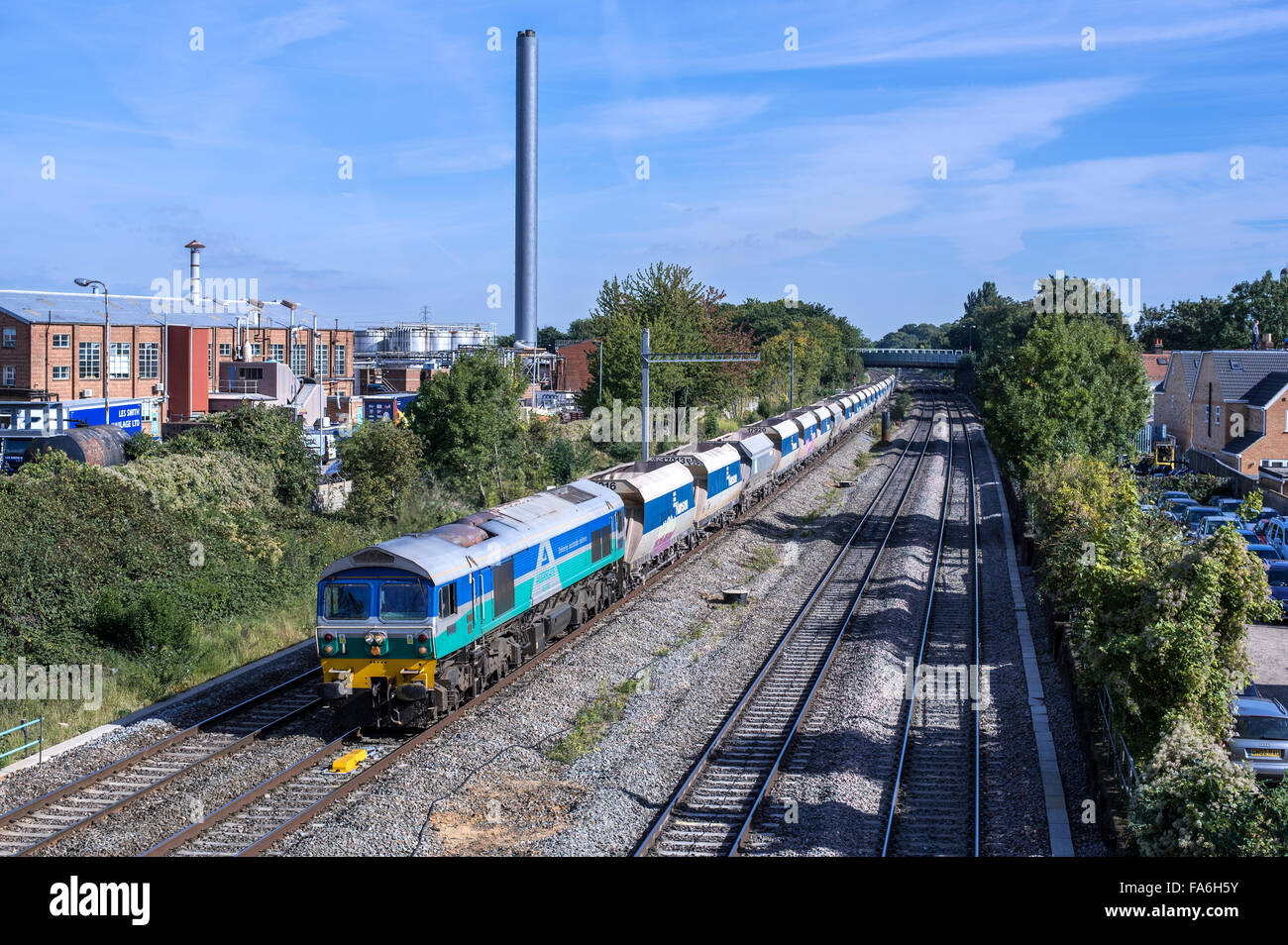 Aggregate Industries 59005 heads 6V18 11:20 Allington A.R.C. Sdg. to Whatley Quarry through Slough on 29th Sept, - Stock Image