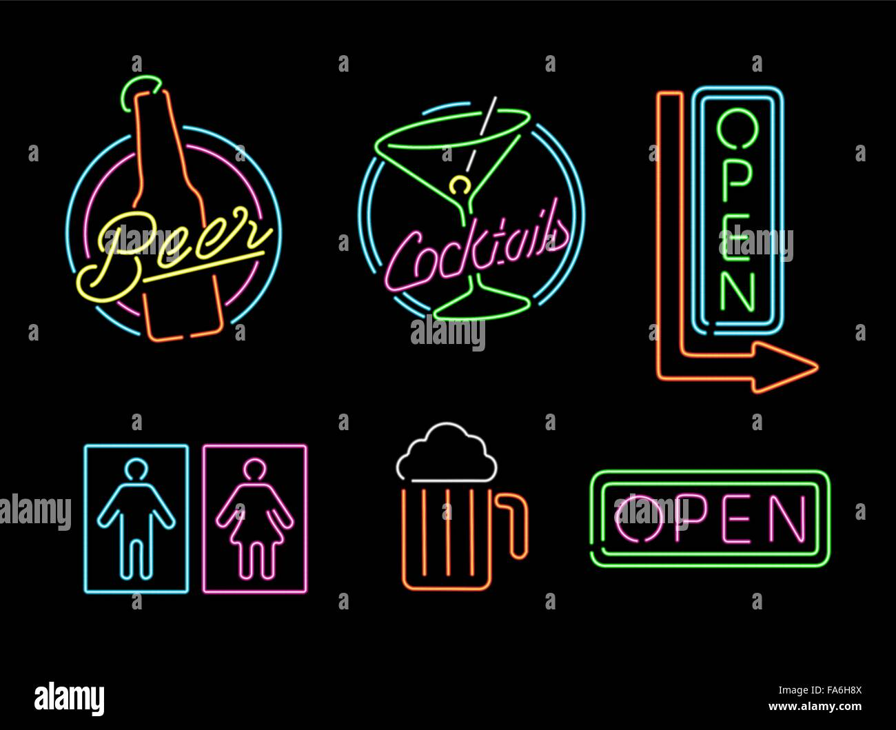 Set Of Retro Style Neon Light Outline Sign Icons For Bar Beer Open Business Cocktail And Bathroom Symbol EPS10 Vector