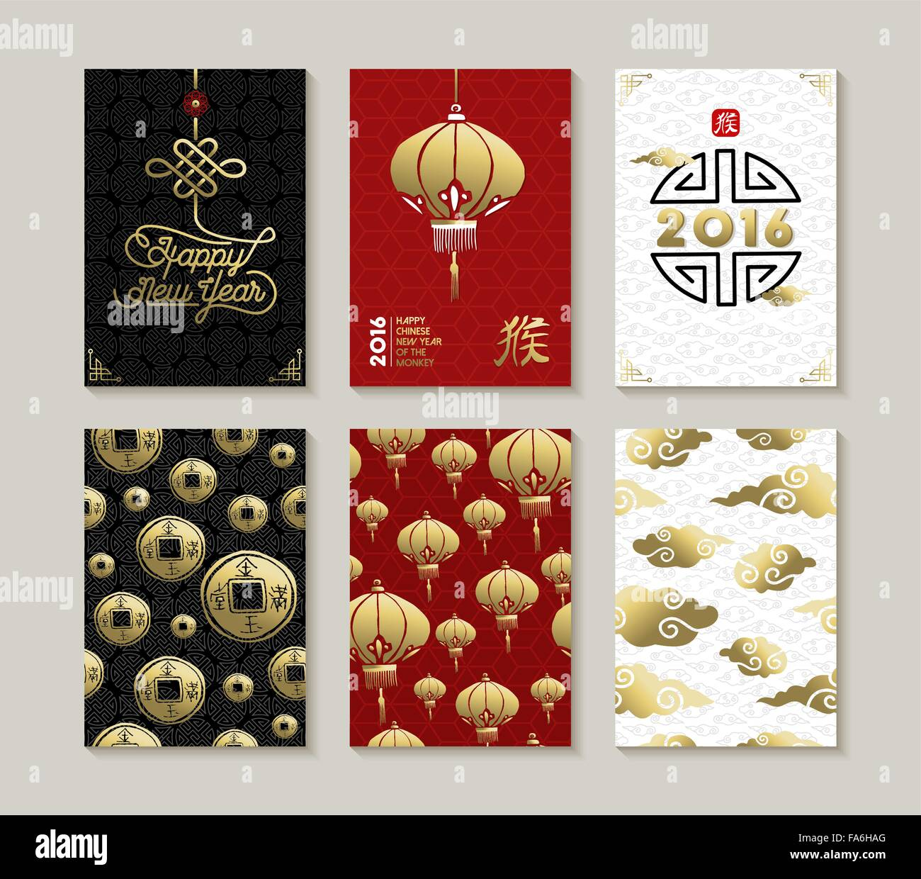 2016 Happy Chinese New Year Of The Monkey Greeting Card Seamless