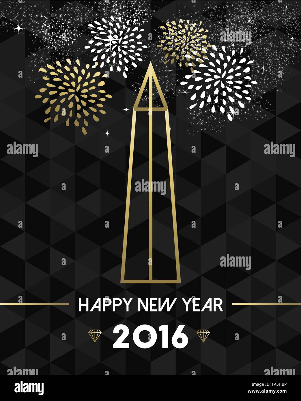 happy new year 2016 washington greeting card with usa united states monument obelisk in gold outline style eps10 vector