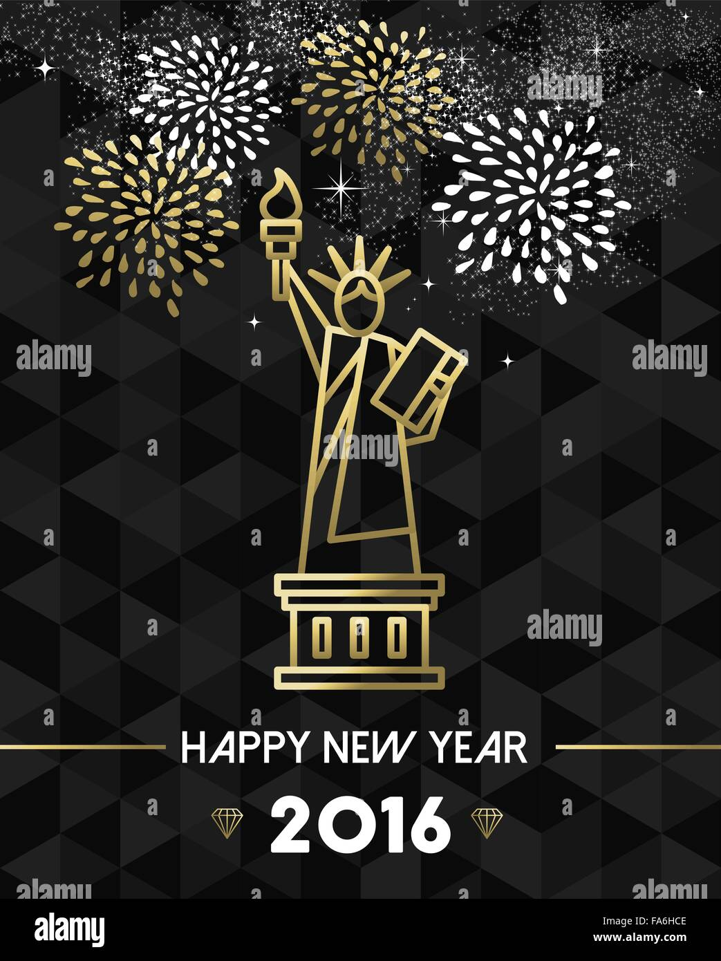 Happy New Year 2016 New York Greeting Card With Usa United States