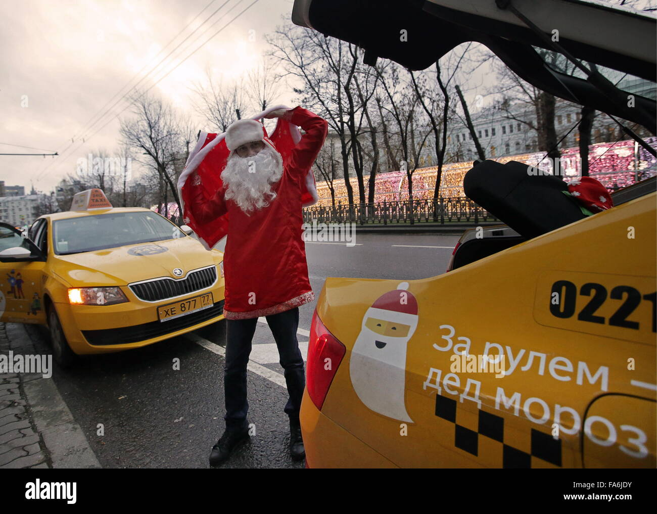 MOSCOW, RUSSIA  DECEMBER 22, 2015  A Yandex Taxi driver