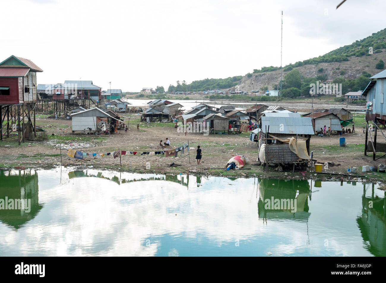 Shanty town of temporary houses near Siem Reap , Cambodia - Stock Image