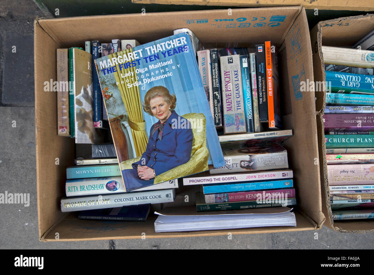 Margaret Thatcher biography, The First Ten Years, in the cheap box outside a secondhand bookshop in Edinburgh, Scotland, - Stock Image