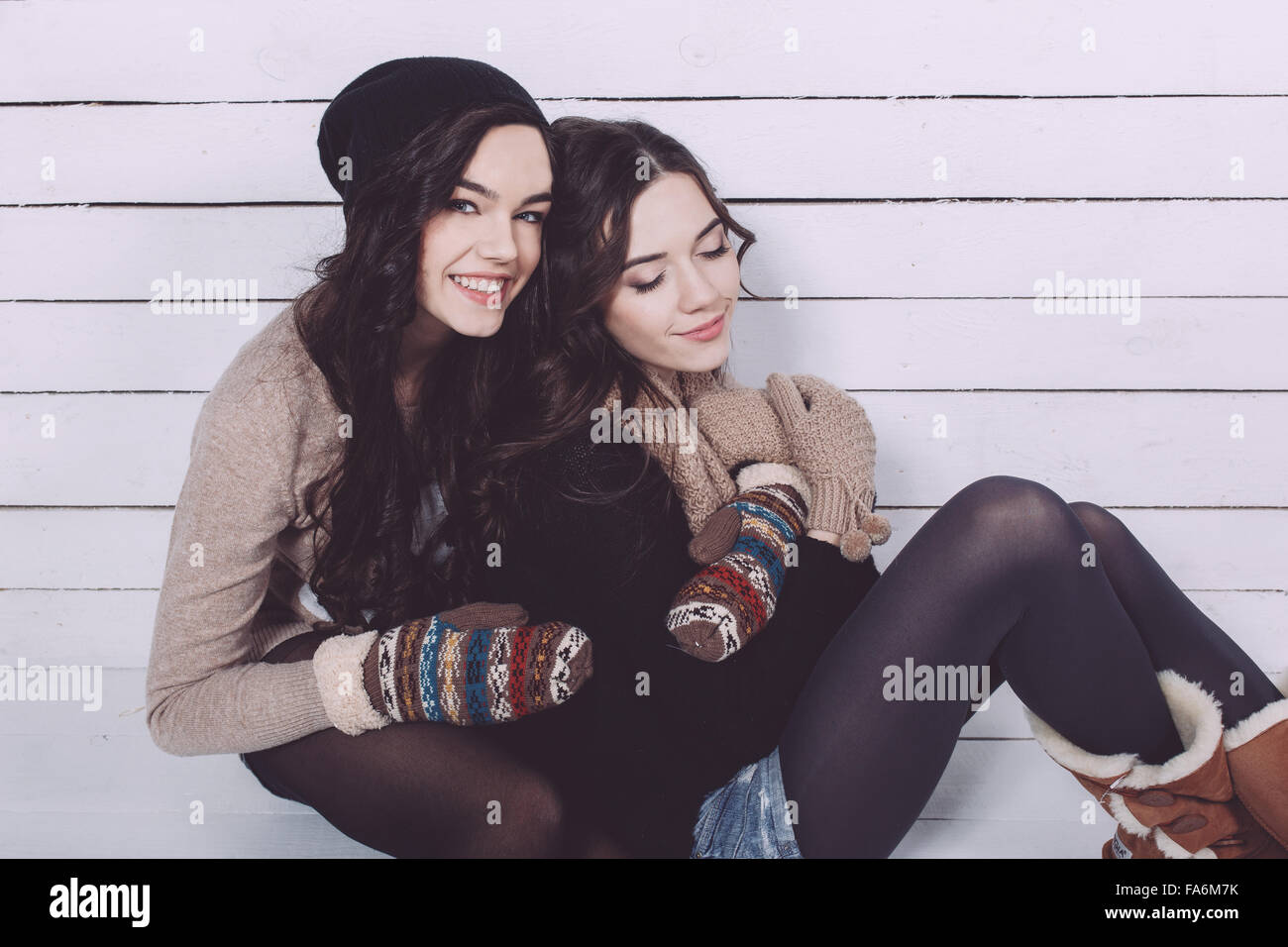Cute girl embraced - Stock Image