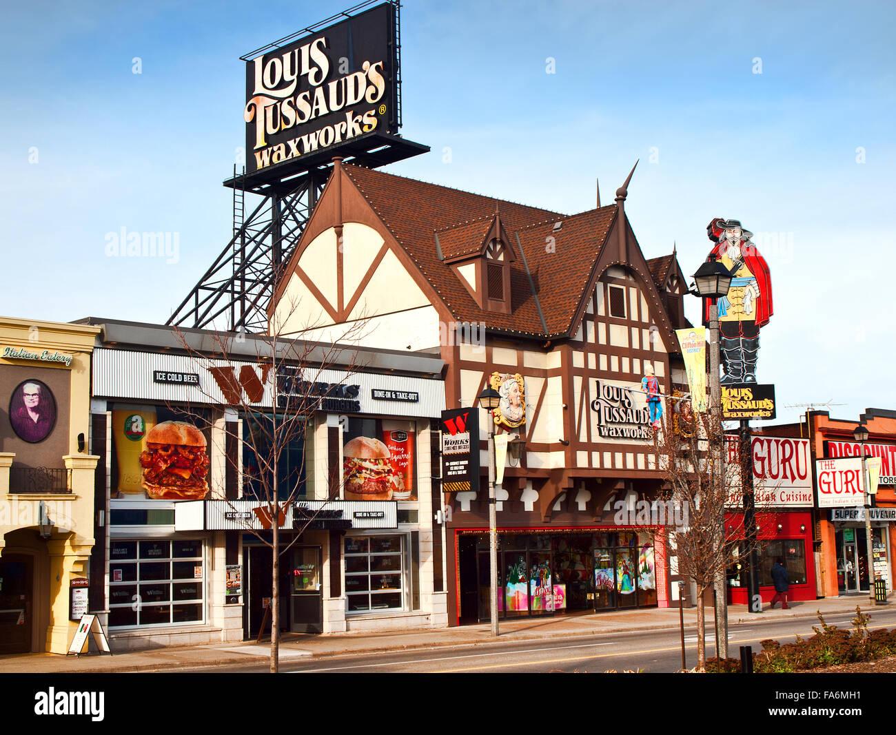 Niagara Falls; Ontario; Canada; December, 20,2015. Louis Tussaud's Waxworks and restaurants on Victoria Avenue in Stock Photo