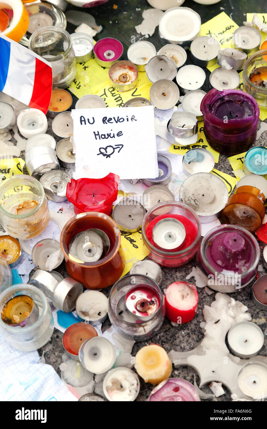 Memorial to those who died in the Paris terrorist attack, November 2015, in Place Kleber, Strasbourg France Europe - Stock Image