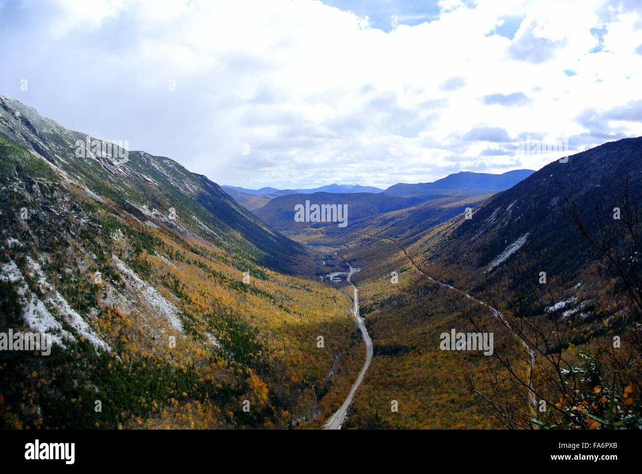 View from above in Crawford Notch State Park, New Hampshire Stock Photo