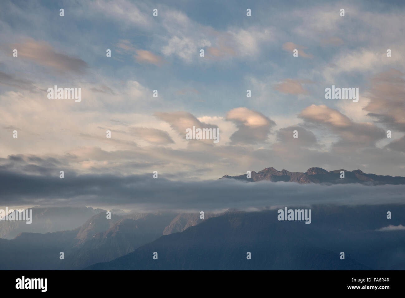Dawn view of Black Mountains over Trongsa valley Bhutan - Stock Image
