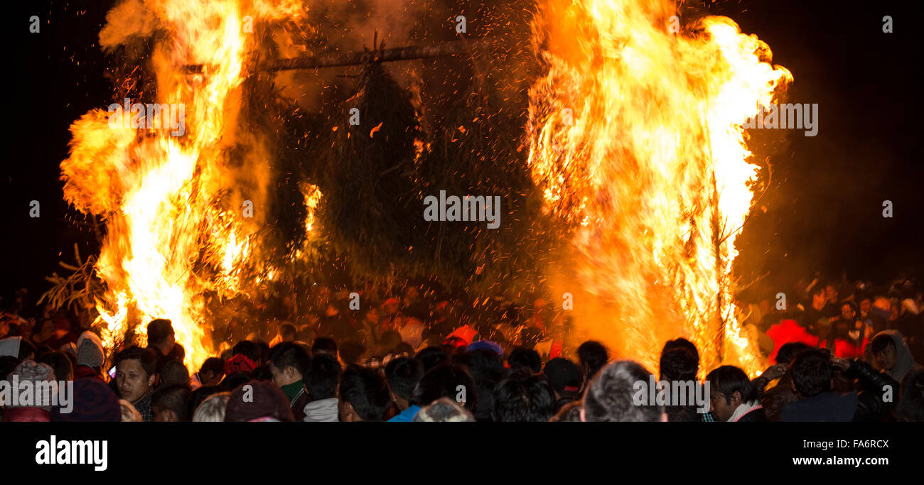 Fire gate at Jambay Lhakhang Drup night fire festival Bumthang Central Bhutan - Stock Image