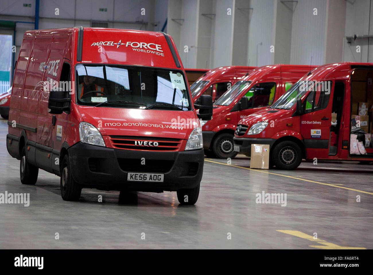 Parcelforce vans , Stoke depot - Stock Image