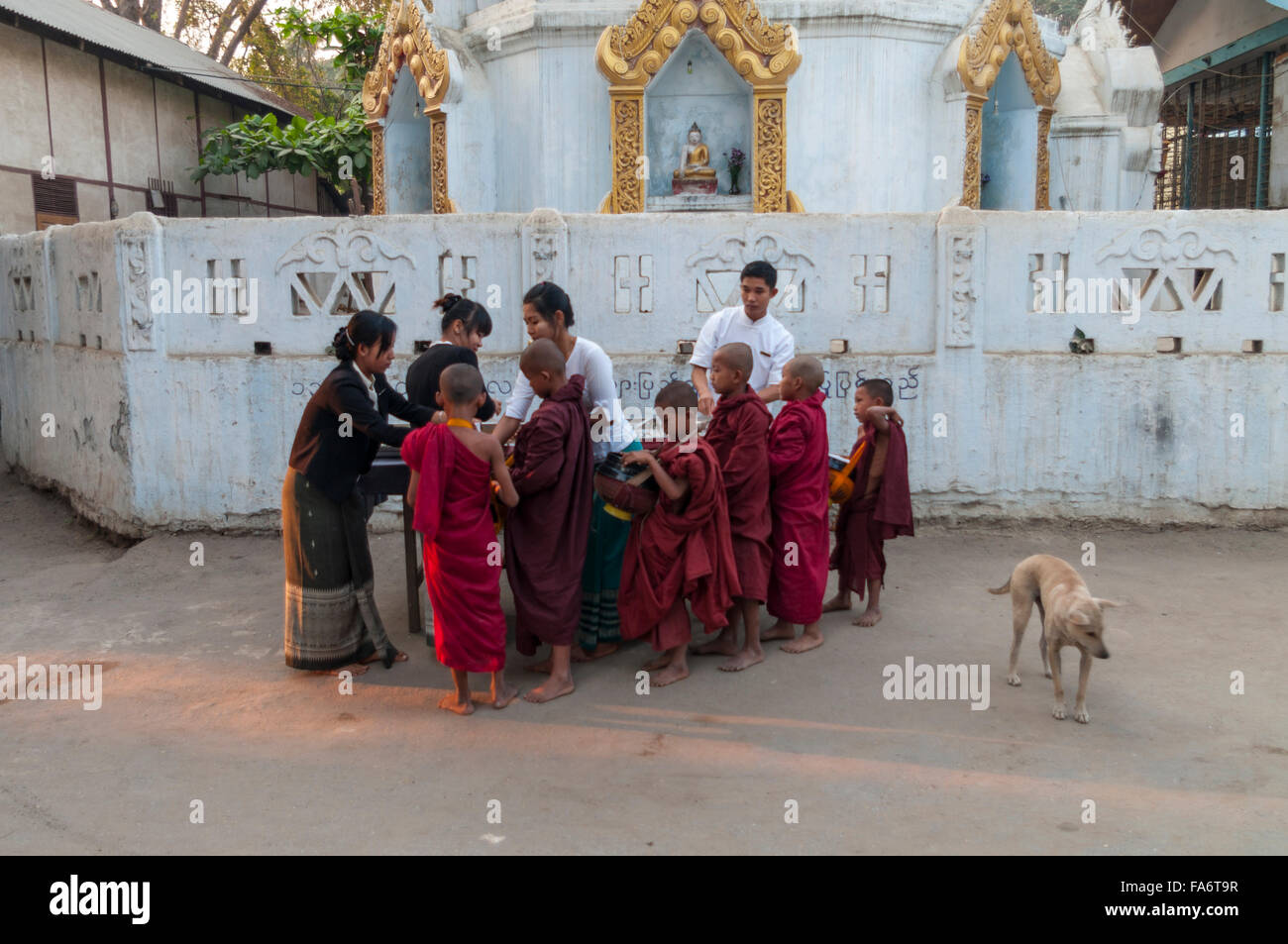 Group of juvenile Buddhist monks receiving food alms on alms round in Shwe Kyet Yet village in Mandalay Region, - Stock Image