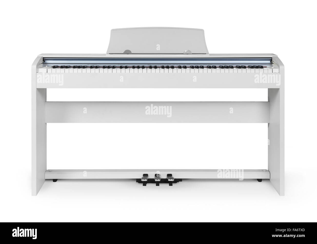 White digital piano in isolated on white background with clipping path - Stock Image