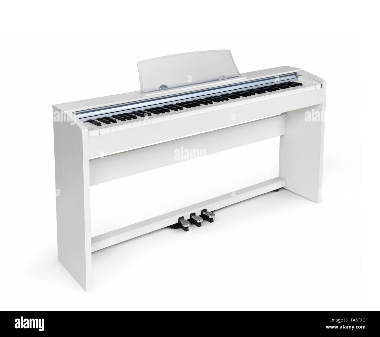 White upright digital piano in isolated on white background with clipping path - Stock Image