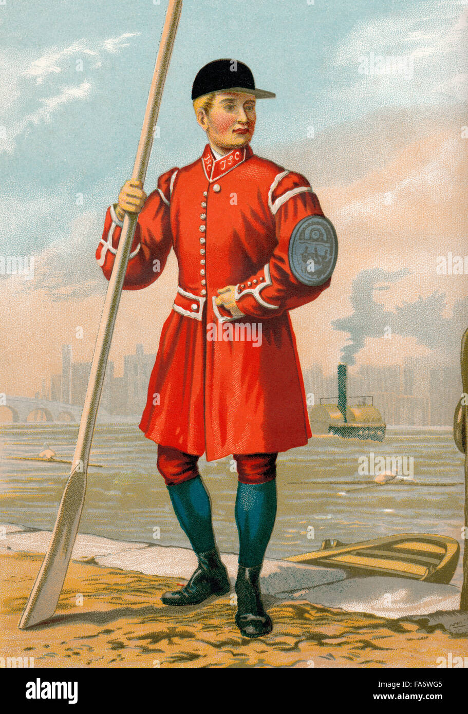 A waterman in Doggett's Coat and Badge, the oldest rowing race in the world, River Thames, London, England, - Stock Image