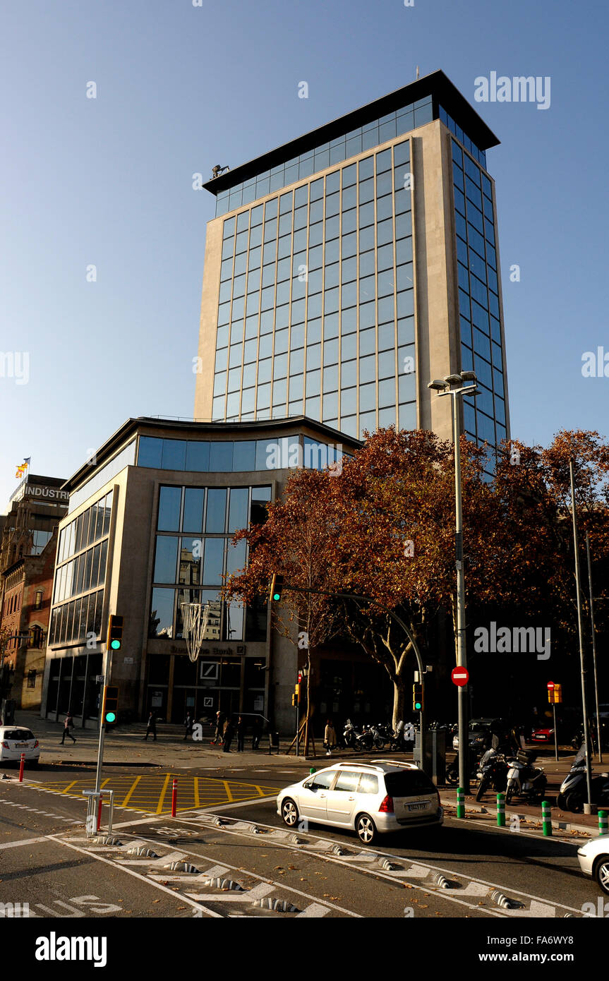 before Deutsch Bank building now is becoming a luxury Hotel, in Barcelona - Stock Image