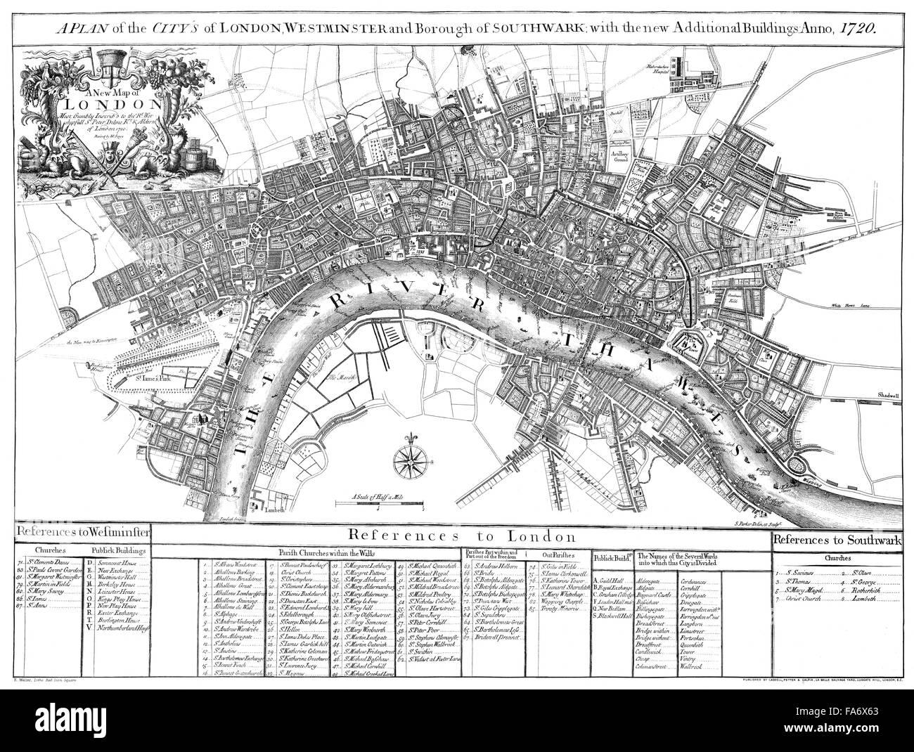 City Map Of London England 1720 Stadtplan Von London 1720 Stock