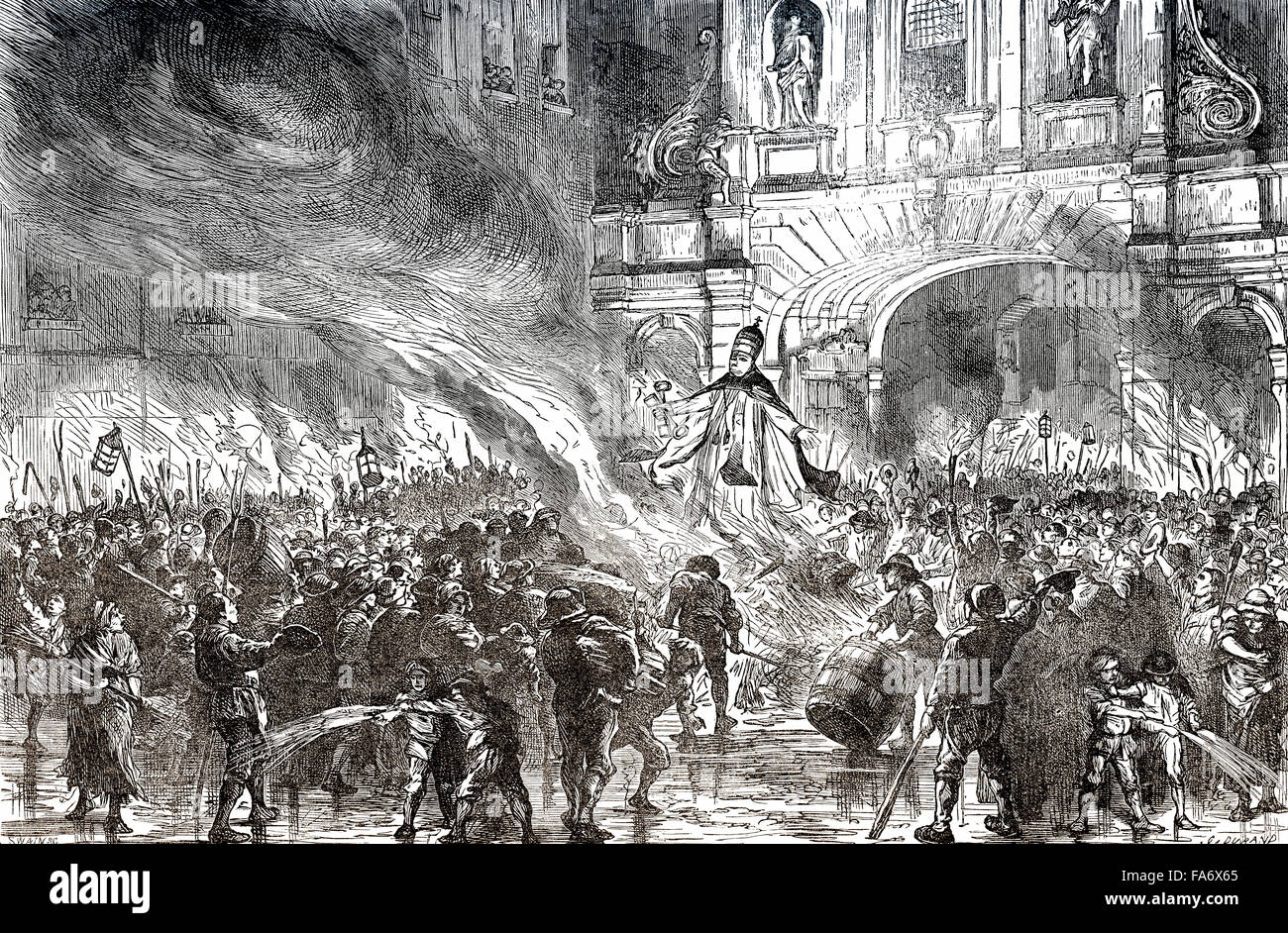 The citizens of London burning the Pope in effigy at Temple Bar, London, UK, 18th century, - Stock Image